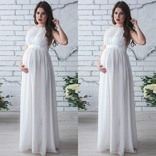Gusspower Vestido de Embarazada, Vestido sin Mangas de Gran tamaño para Mujeres Embarazadas, Vintage, Vestido de Encaje,Vestido de Cintura Alta de Gasa Blanco