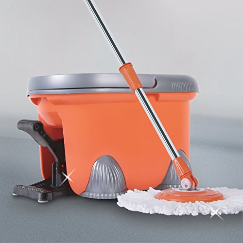 (Arevo Rocket Wet Spin Mop and Bucket with Foot Operated Easy Wring System and Washable Microfiber Cloth Broom)