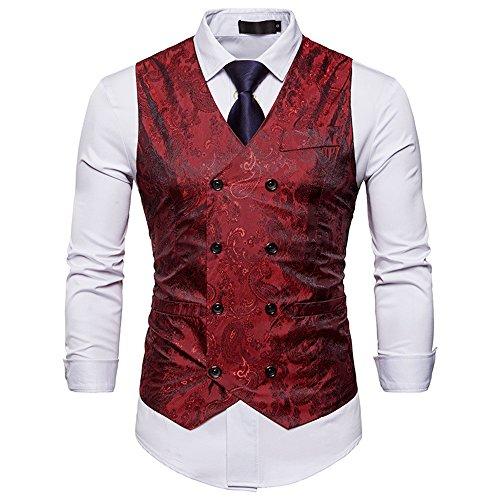 Cyparissus Mens Vest Waistcoat Men's Suit Dress Vest for Men or Tuxedo Vest (Medium, Red 3#) ()