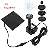 QueenA Upgraded Solar Fountain Pump for Birdbath, 1.2W Submersible Solar Powered Water Pump Panel Kit with 4 Sprinkler Heads, 3M/9.8FT Wire Length Solar Power Water Pump Kit for Garden/Pond/Patio