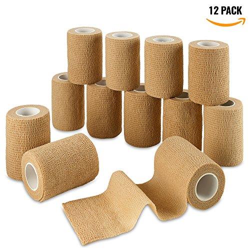 Self Adherent Wrap - Bulk Pack of 12, Athletic Tape Rolls and Sports Wraps, Self Cohesive Non-Woven Adhesive Bandage (3 In x 5 Yards) FDA Approved for Ankle Sprains & Swelling by MEDca