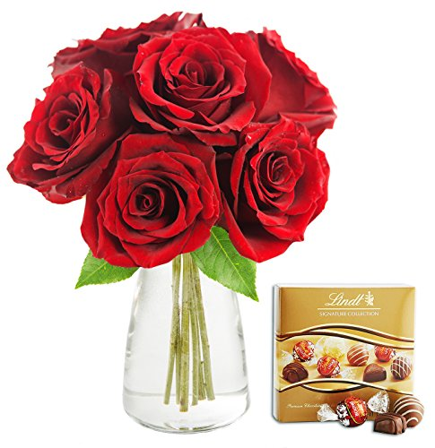 KaBloom Romantic Red Rose Bouquet: 6 Fresh Cut Red Roses (Long Stemmed) with Vase and One Box of Lindt Chocolates
