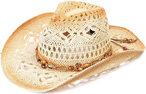 D Diana Dickson Kid's Straw Cowboy Hat w/Hat Band,Brown_KST-011 ()