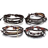 Aroncent Infinity Bracelet Leather Wristband Cross Wing Fish Hook Brown 4 PCS 8.5-10.5 Inches