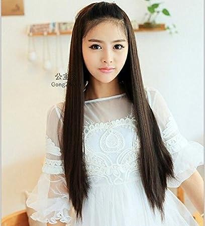 Amazon.com   Princess Lee wig long straight hair straight hair half wig  Korean version of sweet girls fake hair women girls female half head    Beauty e93e11fc37d3