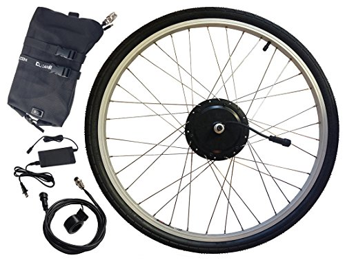 Electric Bike Kit - Clean Republic 350 Watt 36 Volt Hill Topper Ranger, Lithium Battery Included (700c Wheel + 20 Mile Range (Rain Topper)
