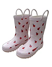 Foxfire for Kids Light Pink with Ladybugs and Flower Rubber Boots