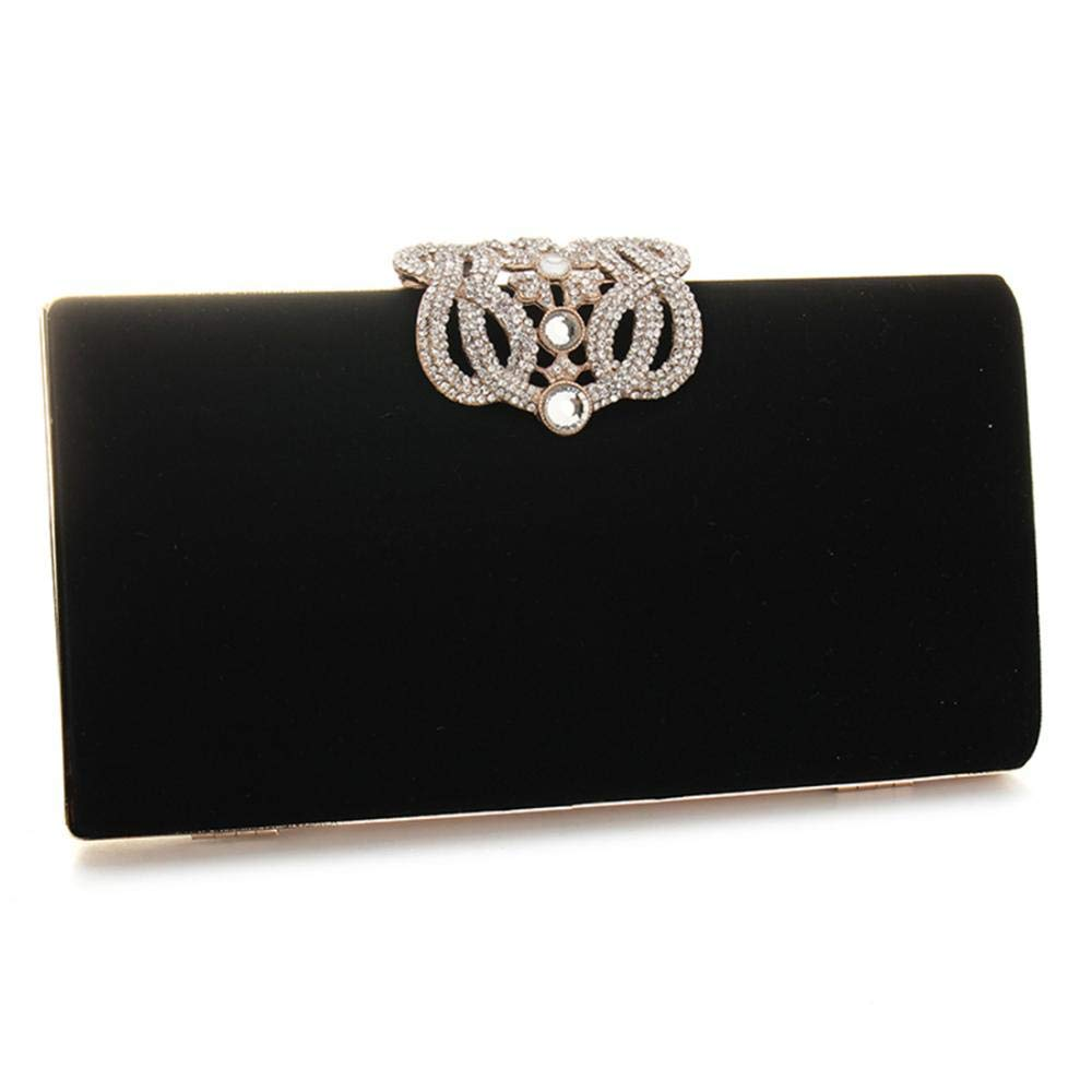 Velour Beads Box Evening Clutch Handbag, Soft Surface Hard Case Acrylic Clutch Purse Bag, Fashion Clutch Evening Bag for Prom Ball Shopping Formal Party Club (Black) by SIMANLI (Image #3)