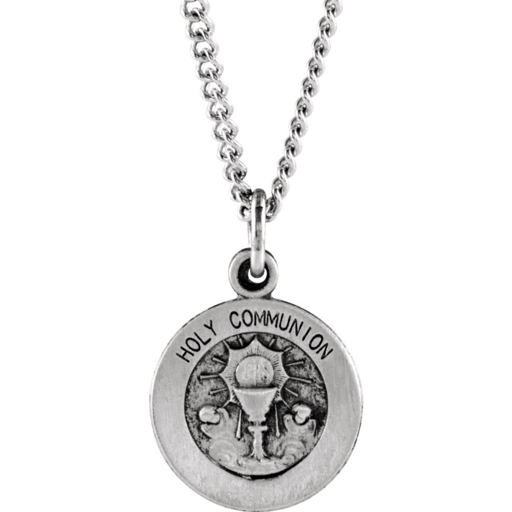 925 Sterling Silver Round Holy Communion Pendant Medal 11.5