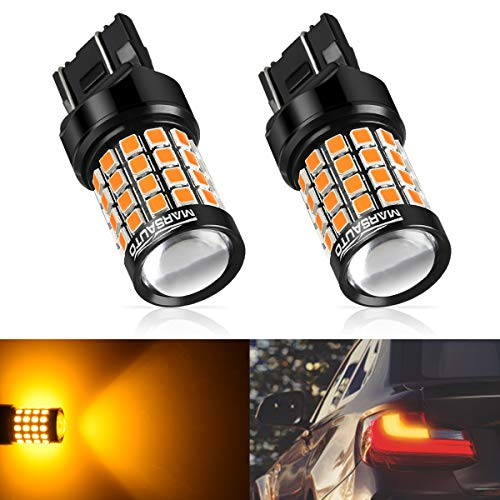 Marsauto 7440 7441 7443 7444 992 T20 LED Bulbs Amber Yellow with Projector Lens 2500LM for Turn Signal Lights Side Marker Lights 2Pack