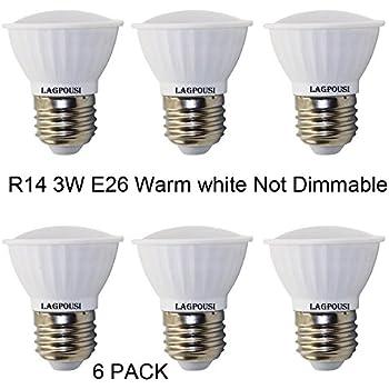 Lagpousi 6 Pack 3w Warm White R14 Not Dimmable Led Flood Bulbs E26 Base R16 Bulb 25w