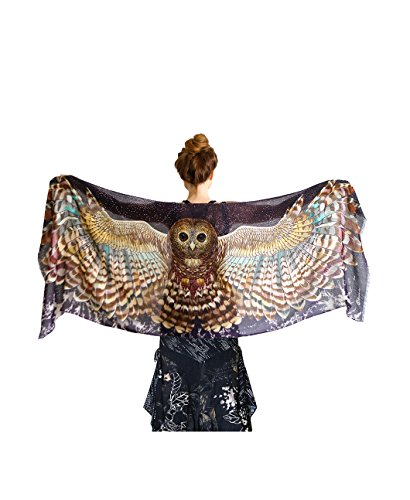 Night Owl Wings, 100% Silk Satin Scarf, Wearable Hand Painted Printed Artistic Shawl