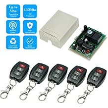 KKmoon 433Mhz DC 12V 2CH Universal 10A Relay Wireless Remote Control Switch Receiver Module and 5PCS 3 Key RF 433 Mhz Transmitter Remote Controls 1527 Chip Smart Home Automation