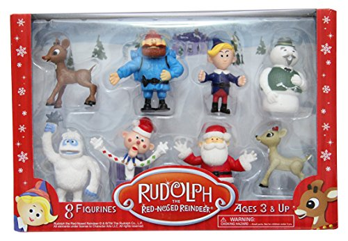 Santa Uses Reindeer (Rudolph the Red-Nosed Reindeer Figurine Set- 8pc Set Including 2
