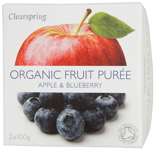 Clearspring Organic Apple and Blueberry Fruit Puree 2x100 g (Pack of 12) by Clearspring