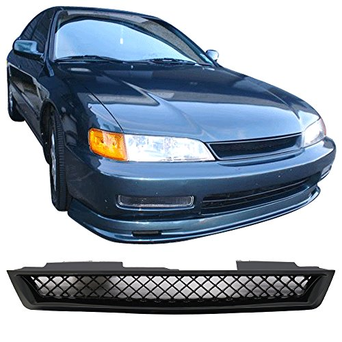 Grille Fits 1994-1997 Honda Accord | T-R style ABS Plastic Black Front Bumper Grill Hood Mesh by IKON MOTORSPORTS | 1995 (95 Honda Accord Grille)