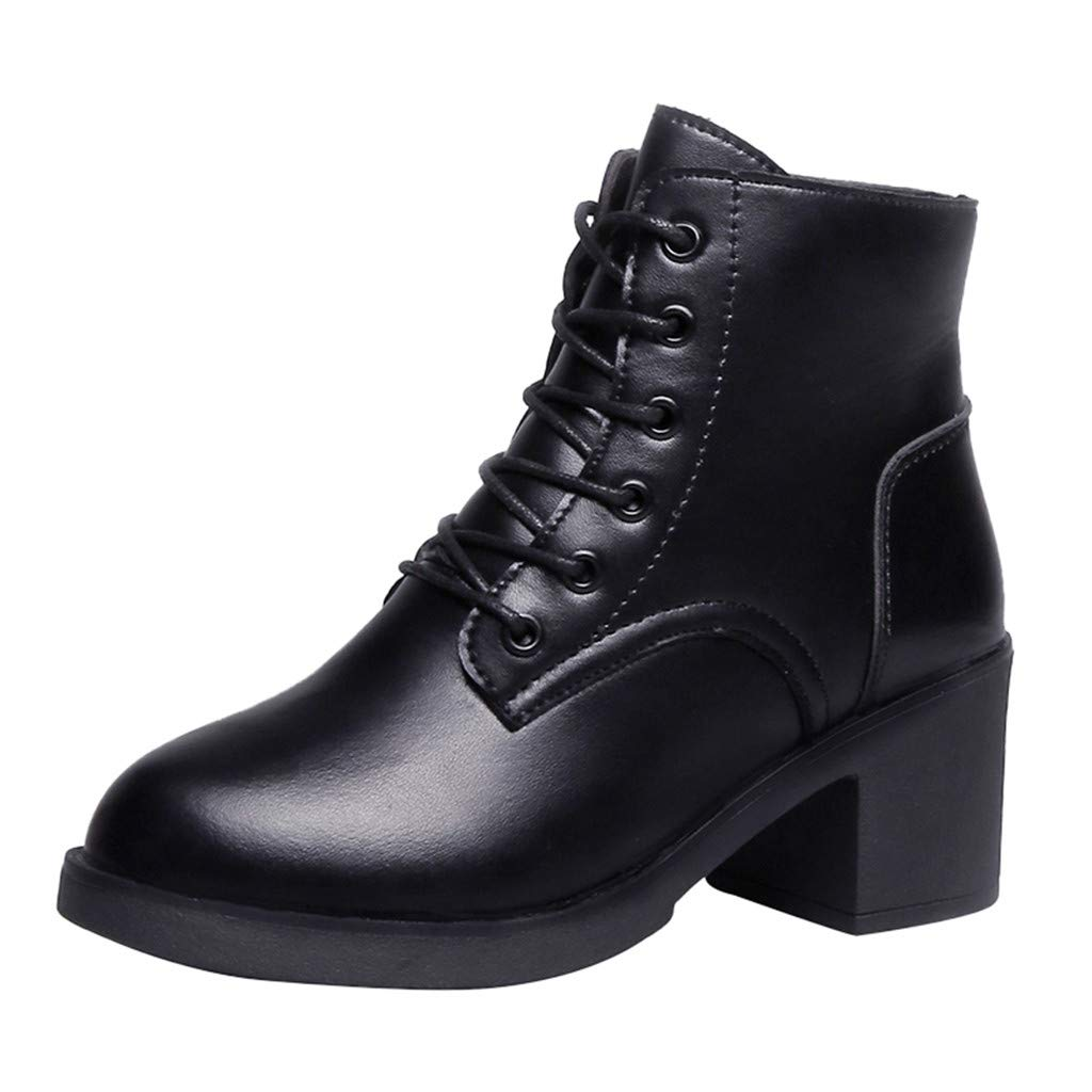 Fheaven Womens Block High Heeled Boots Fashion Round Toe Shoes Lace up Short Military Boots Black by Fheaven-shoes