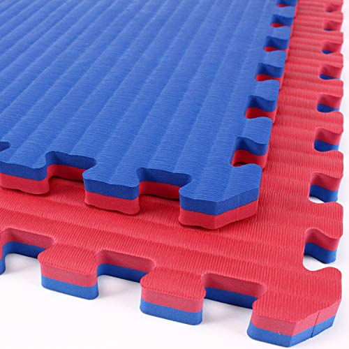 - IncStores - Tatami Foam Tiles - Extra Thick mats Perfect for Martial Arts, MMA, Lightweight Home Gyms, p90x, Gymnastics, Yoga and Cardio (Red/Blue, 16 (3'x3') Tiles, 144 Sqft + Borders)