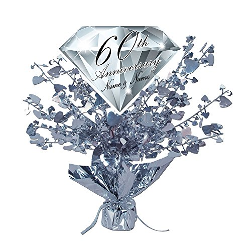 60TH DIAMOND-ANNIVERSARY CUSTOMIZED CENTERPIECE (Anniversary Centerpieces Ideas)
