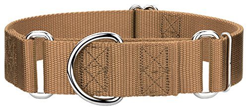 Country Brook Design | 1 1/2 Inch Martingale Heavyduty Nylon Dog Collar - Coyote Tan - Medium