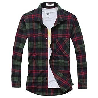 OCHENTA - Camisas casuales - Manga larga - Franela a cuadros - Hombres N024 Verde Rojo Asia 6XL - EU Talla 3XL