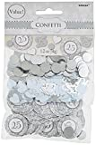Amscan Elegant Decorative Confetti Mix-25th Anniversary Value Pack Party Supplies (12 Piece), Silver