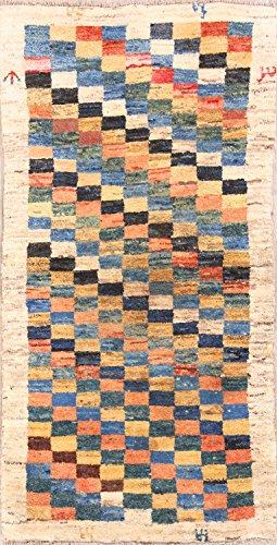 New Checked Geometric Gabbeh Shiraz Hand Made Oriental Persian Area Rug 3x5 (5' 1