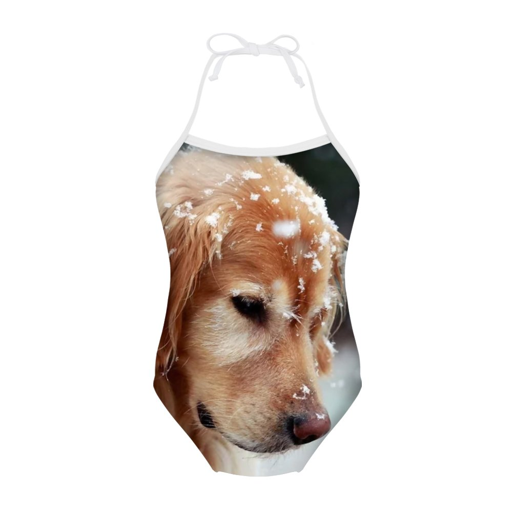 Sannovo Golden Retriever One Piece Animal Swimsuit for Girl Cute Swim Bathing Suit 3T-4T