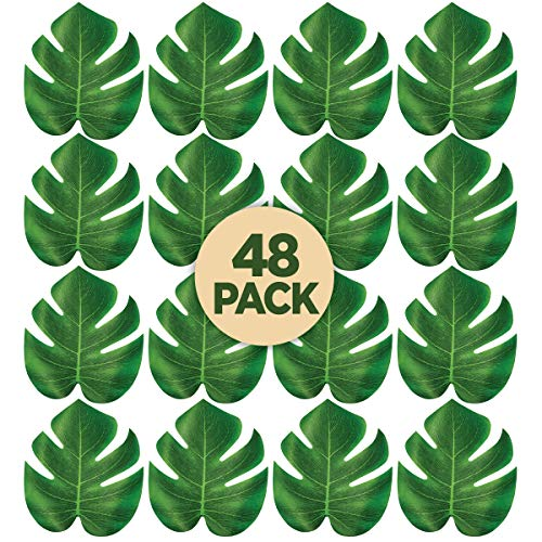 Prextex 48 Artificial Palm Leaves for Party Table Decoration, Imitation Tropical Leaf Placemats, Table Runners or Greenery Décor for Events, Beach Theme or Jungle Party Supply (Medium, 7.6 x 7 Inch)