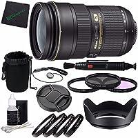 Nikon AF-S NIKKOR 24-70mm f/2.8G ED Lens + 77mm 3 Piece Filter Set (UV, CPL, FL) + 77mm +1 +2 +4 +10 Close-Up Macro Filter Set with Pouch + Lens Cap + Lens Hood + Lens Cleaning Pen Bundle