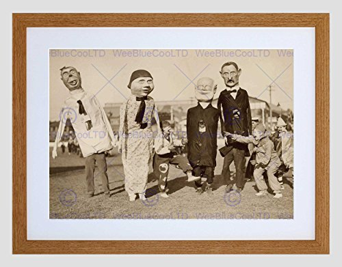 (Vintage Cultural Carnival Clowns Masks Effigies Framed Art Print Mount)