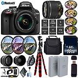 Nikon D3400 DSLR 24.2MP DX CMOS Camera AF-P 18-55mm VR Lens + LED Light kit + Wide Angle & Telephoto Lens + 7PC Filter Kit + Camera Case - International Version