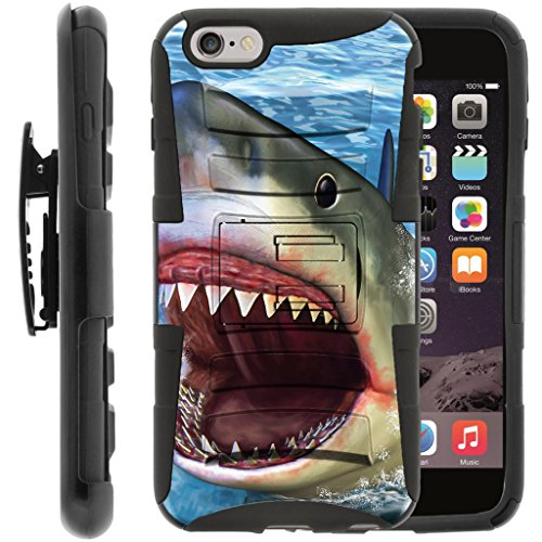 TurtleArmor | Compatible for Apple iPhone 6 Plus Case | iPhone 6s Plus Case [Hyper Shock] Dual Layer Hybrid Rugged Belt Clip Holster Hard Impact Kickstand Case Animal Design - Shark Attack -