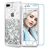 Maxdara iPhone 8 Plus Case, iPhone 7 Plus Glitter Liquid Women Case [Tempered Glass Screen Protector] Floating Bling Sparkle Luxury Pretty Girls Case iPhone 6 Plus/6s Plus/7 Plus/8 Plus (Silver)