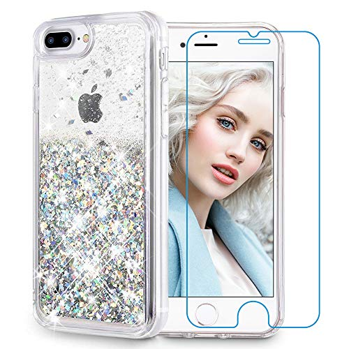 Sparkle Glittery - Maxdara iPhone 8 Plus Case, iPhone 7 Plus Glitter Liquid Women Case [Tempered Glass Screen Protector] Floating Bling Sparkle Luxury Pretty Girls Case iPhone 6 Plus/6s Plus/7 Plus/8 Plus (Silver)