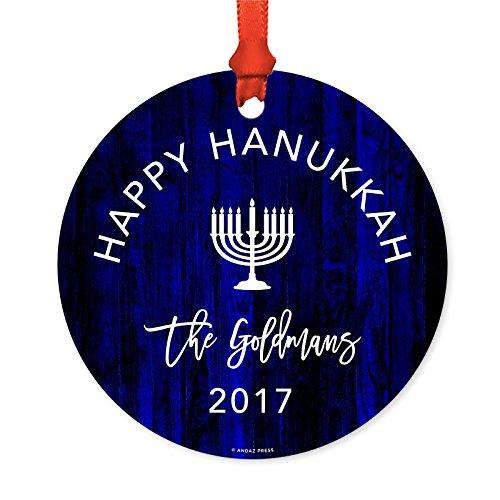 Andaz Press Personalized Jewish Family Hanukkah Metal Ornaments, Happy Hanukkah The Goldmans 2019, 1-Pack, Includes Ribbon and Gift Bag, Bar Bat Mitzvah Gift Ideas, Custom - Hanukkah Ornament