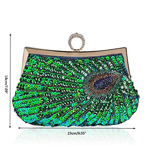 BYNNIX Bag Vintage Evening Pu Peacock Blue Women Sequin Party Handbag Clutch Wallet Peacock Beads qvwrqA