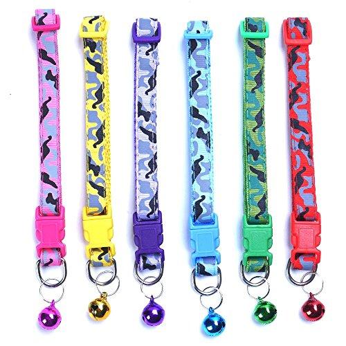 - ICYANG 6 pcs/Set Soft Nylon Camo Puppy Kitten Pet Cat Dog Collar Adjustable Breakaway Whelping Litter Collars with Bell