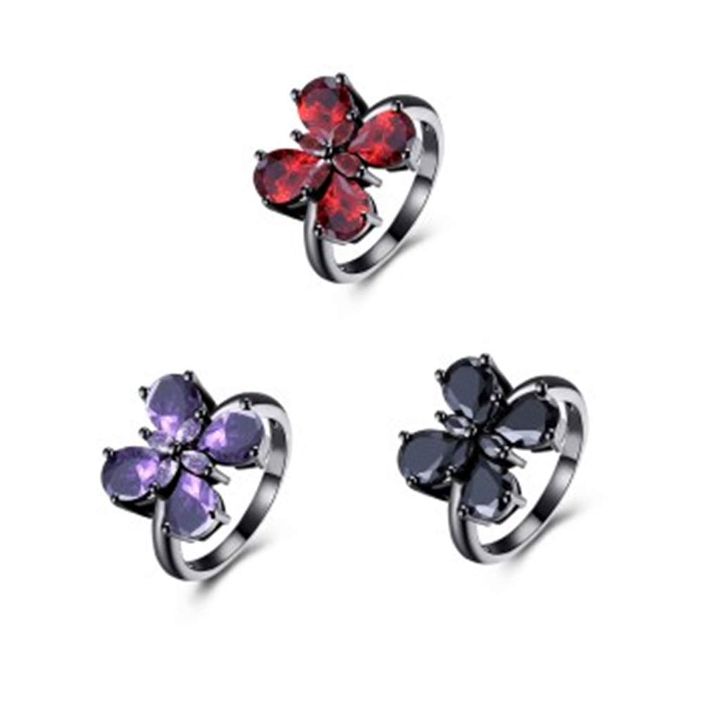 V-MONI Fashion Trend Ring Butterfly Inlay Red 6