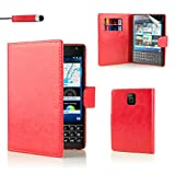 32nd® Book wallet PU leather flip case cover for BlackBerry Passport – Red