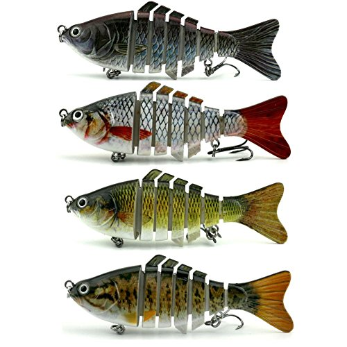 Fishing Lures Hard Bait Bass Life-Like Swimbait Multi Jointer Artificial Bait Crankbait for 7 Segment Trout Bass Lures With Treble Hooks (4 (Amazing Bass)
