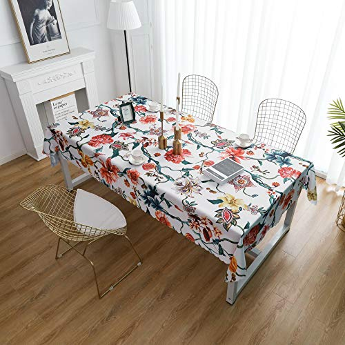 """iLiveX Table Cloth, Original Design Hand Drawing Art Print Tablecloth, Water-Proof Rectangle Table Cover, Kitchen Dining Indoor Outdoor Buffet Tabletop Decoration, 60""""x102"""" (Flower Vine)"""