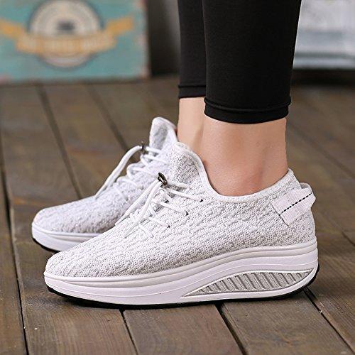 White Heel Comfortable Wedges Shoes High Lightweight Fitness Sneakers Women's Platform Tennis Walking Jarlif HpxzZ7Z