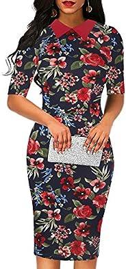 oxiuly Women's Retro Bodycon Knee-Length Formal Office Dresses Pencil Dress O