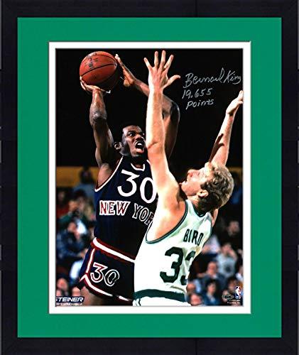 Framed Bernard King Signed vs. Larry Bird 16x20 Photo w/ 19655 Pts Insc - Steiner Sports Certified - Autographed NBA Photos