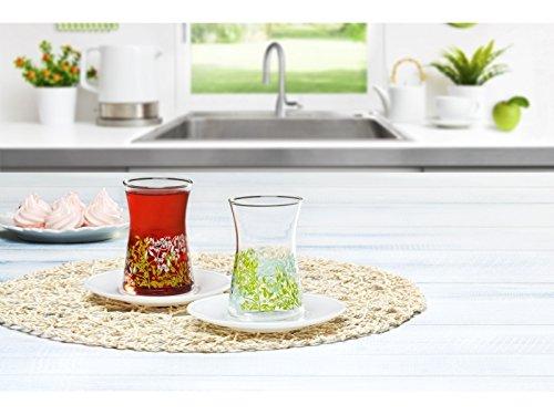 Yasemin Turkish Tea Glasses and Saucers Set - 6 Glasses 6 Saucers - Pasabahce Brand