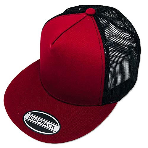 GREAT CAP Blank Trucker Hat - Classic Flat Bill Visor Baseball with Mesh Snapback for Hot Weather, Summer, Outdoor, Running, Car Driving, Vacation, Fishing, Sport, Daily - Burgundy/Black