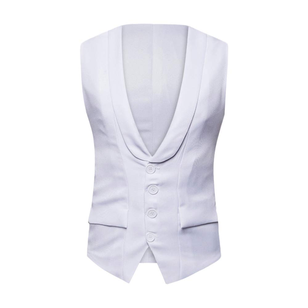 PASATO Men's Autumn Winter Formal Bussiness Tuxedo Suit Waistcoat Vest Jacket Top Coat New Hot!(White, XXL)