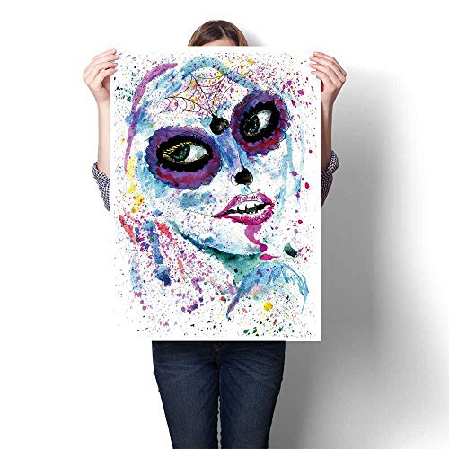 DIY 3D Painting Halloween Girl with Sugar Skull Makeup Paint Painting,16