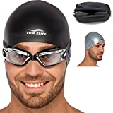 Adult Swim Goggles for Men and Women + Reversible Swimming Cap + Protective Case Set | Swimming Pool Goggles – Underwater Goggles – Swimming Glasses & Swim Goggles for Women & Men | Goggles Adult